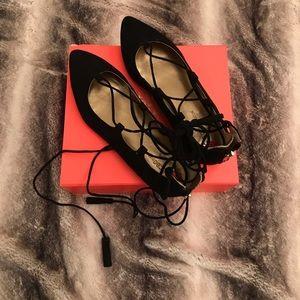 BCBG black suede ankle tie flats